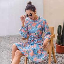 Allover Floral Frill Neck Belted A-line Dress