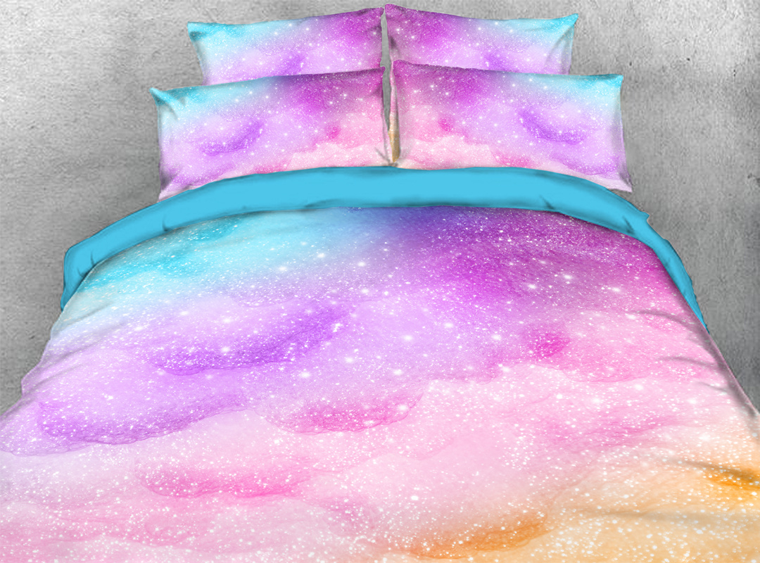 Pink and Blue 3D 4pcs Durable Galaxy Bedding Sets No-fading Soft Reactive Printing Zipper Duvet Cover with Ties