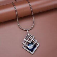 Collar colgante de piedra preciosa con diseño geometrico con abertura