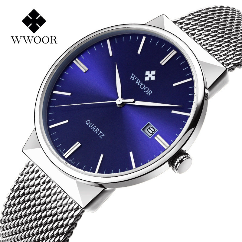WWOOR Luxury Ultra Thin Quartz Watch Stainless Steel Mesh Band Casual Silver Watches for Men