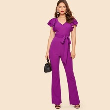 70s Layered Sleeve Belted Flare Leg Jumpsuit