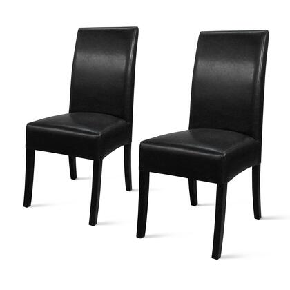 108239B-23 Valencia Collection 17 Dining Chair (Set of 2) with Bonded Leather Upholstery  Stitching Details  Tapered Legs  High-Back Seat and Solid