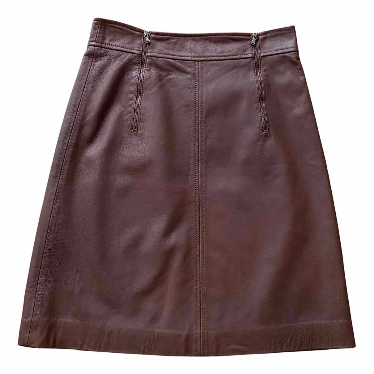 Jigsaw N Brown Leather skirt for Women 8 UK