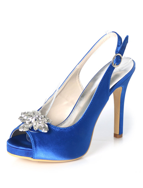 Milanoo Silver Wedding Shoes Satin Peep Toe Rhinestones High Heel Bridal Shoes