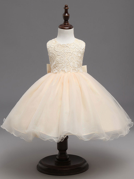 Milanoo Champagne Flower Girl Dresses Tutu Kids Formal Dresses Keyhole Lace Bows Tulle Princess Dinner Party Dresses