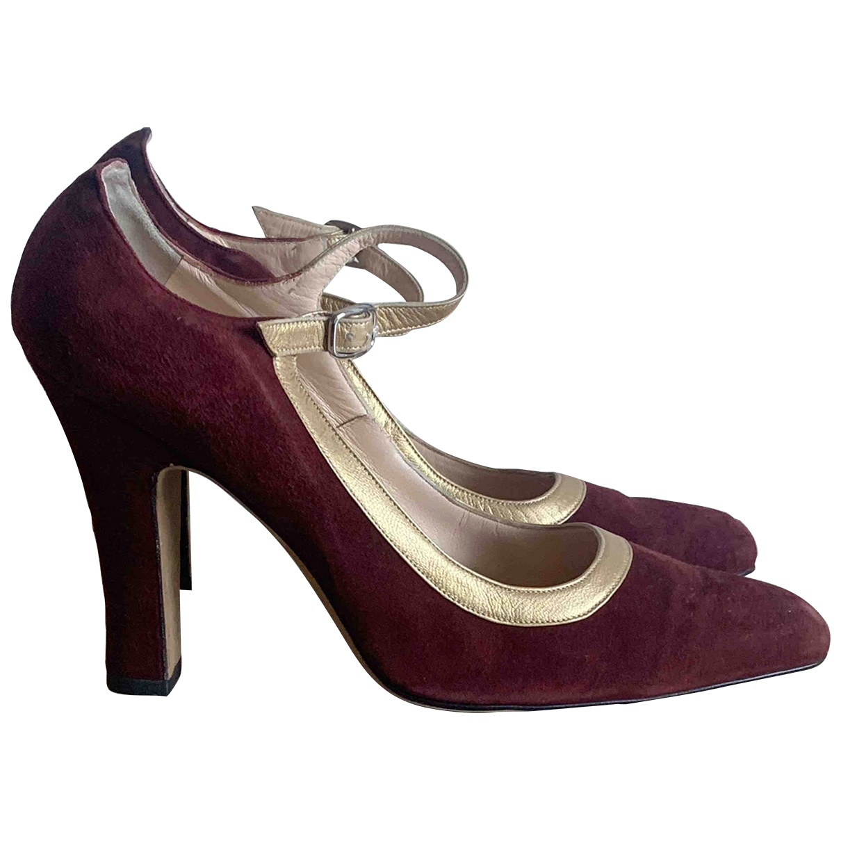 Manolo Blahnik \N Burgundy Suede Heels for Women 38.5 EU
