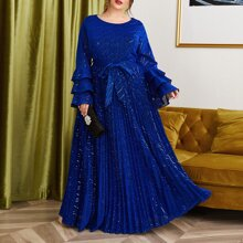 Plus Layered Sleeve Belted Glitter Pleated Dress