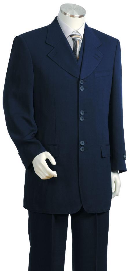 3 Piece 6 Button Navy Zoot Suit Mens