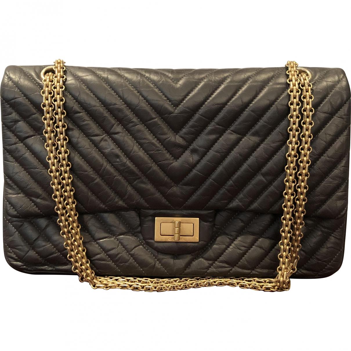 Chanel - Sac a main 2.55 pour femme en cuir - gris