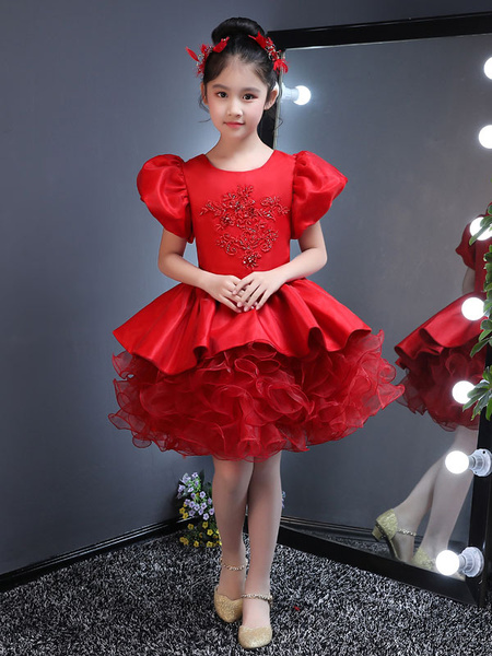 Milanoo Red Flower Girl Dresses Short Tutu Dress Puff Sleeve Lace Beaded Ruffles Mini Party Dresses For Kids