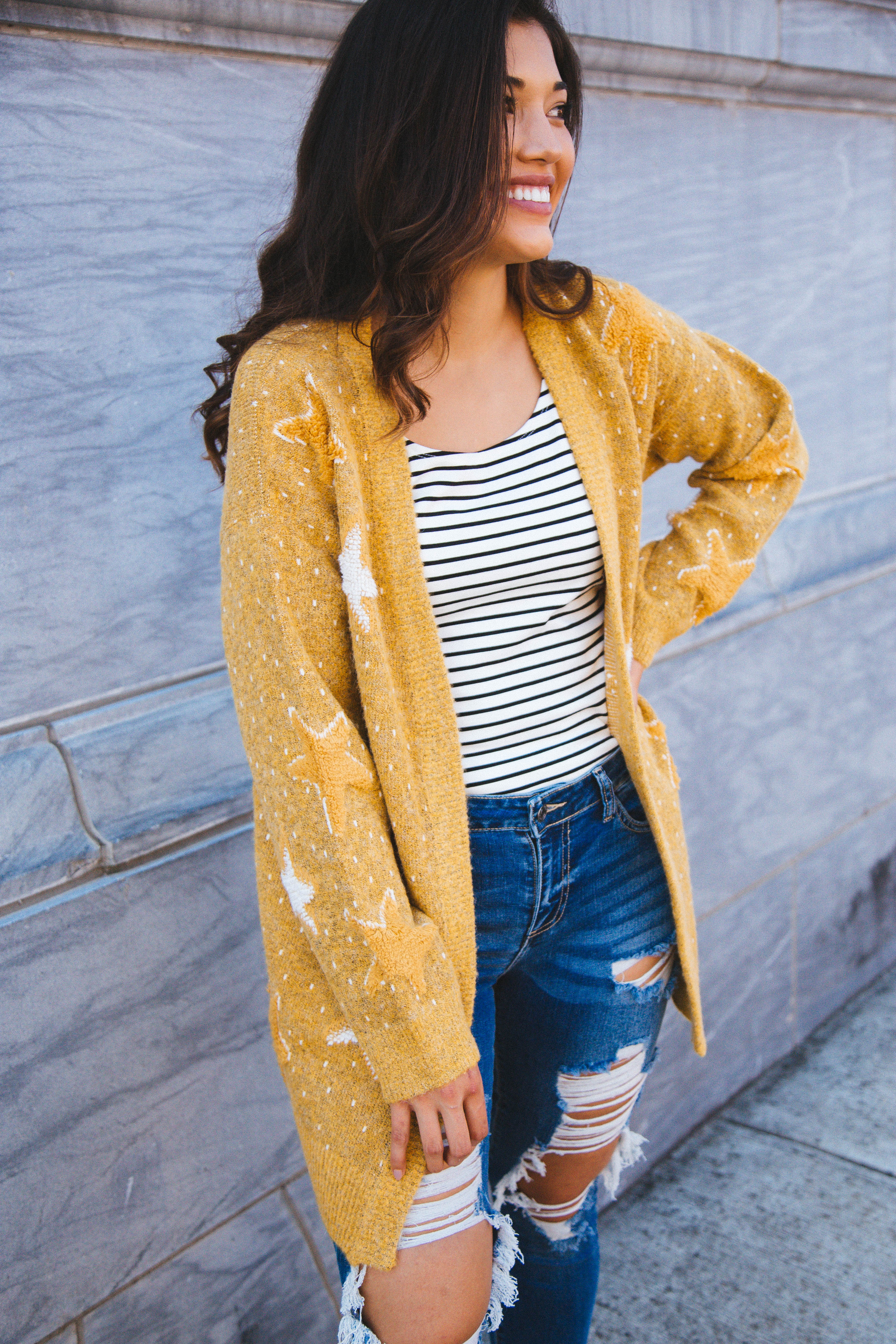 Lost In The Stars Cardigan Mustard
