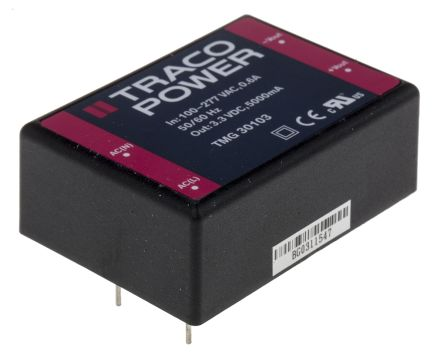 TRACOPOWER , 16.5W Embedded Switch Mode Power Supply SMPS, 3.3V dc, Encapsulated