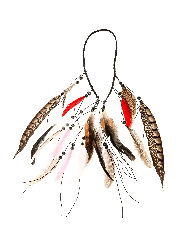 Kostuemzubehor Halskette Fasanenfedern Farbe: braun