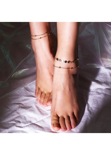 Mother's Day Gifts Sequin Beads Detail Gold Metal Anklet Set - One Size