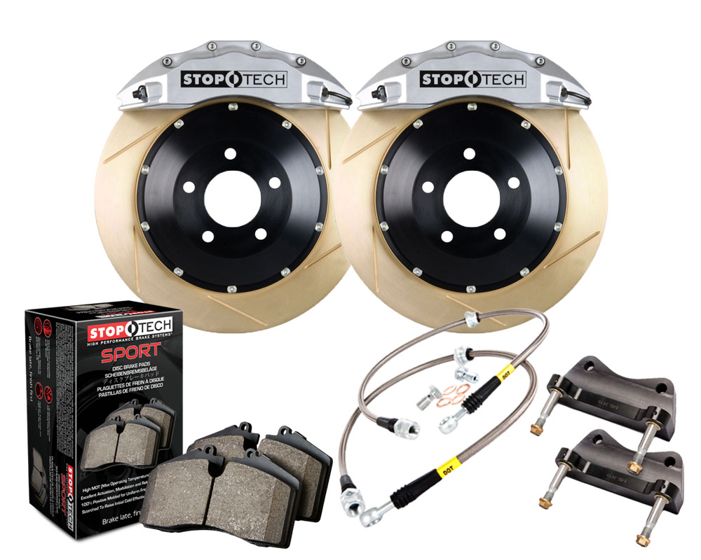 StopTech 83.896.6700.63 Big Brake Kit; Black Caliper; Slotted Two-Piece Rotor; Rear Front