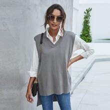 Pulloverweste mit Schlitz und Stufensaum