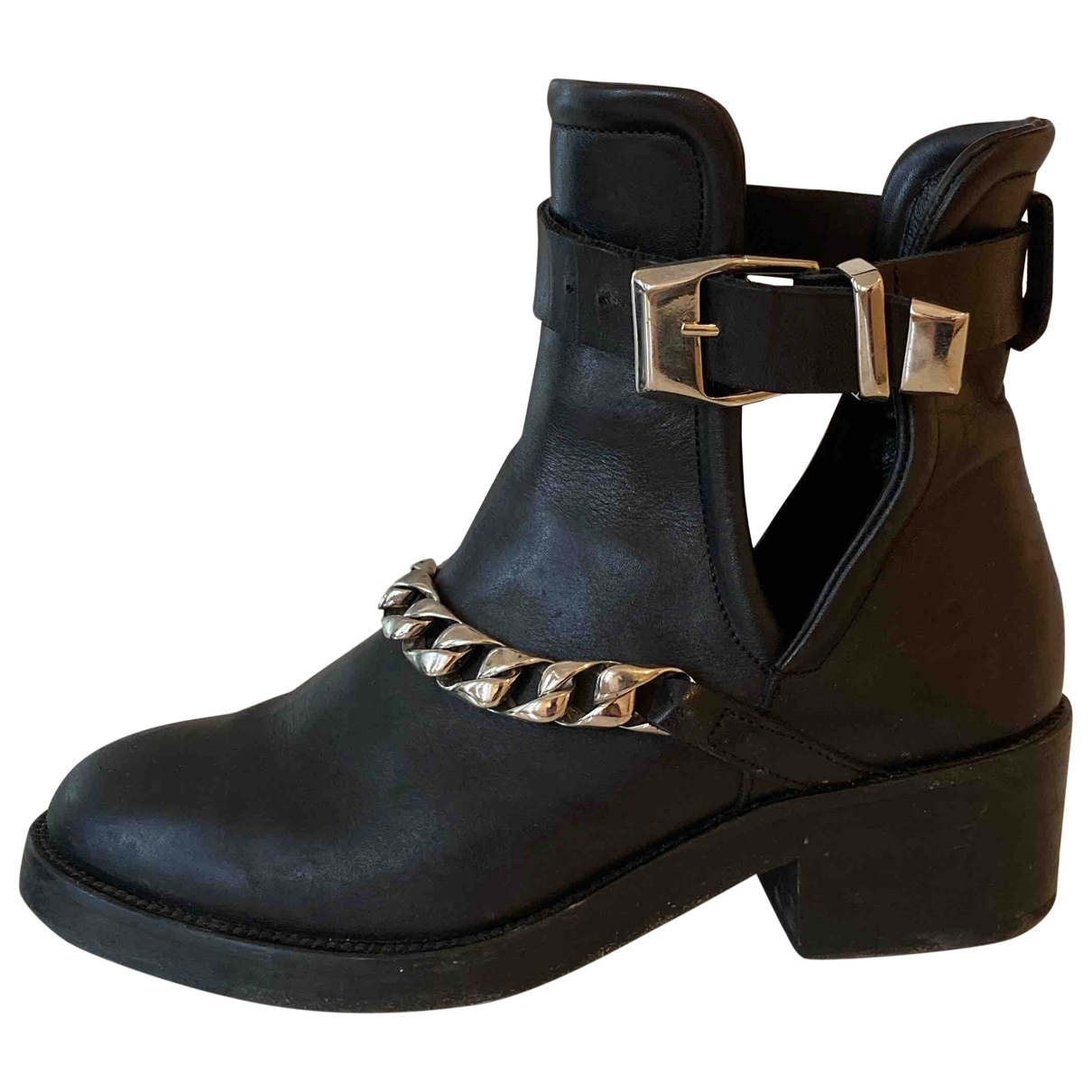 Sandro \N Black Leather Ankle boots for Women 37 EU