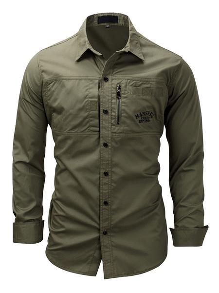 Milanoo Camisa informal para hombres Camisa de cuello vuelto Camisas de gran tamaño de color caqui