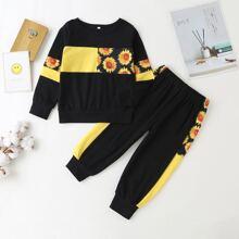Toddler Girls Sunflower Print Color-block Sweatshirt & Sweatpants