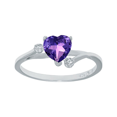 Genuine Amethyst and White Topaz Sterling Silver Heart-Shaped Ring, 8 , No Color Family