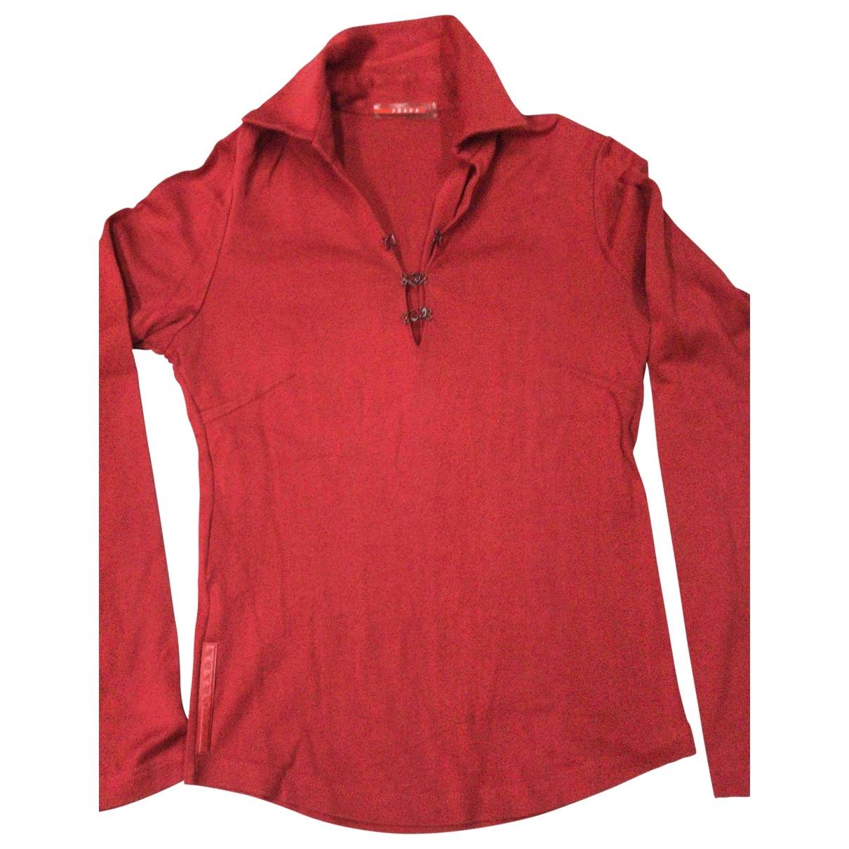 Prada - Pull   pour femme en coton - rouge