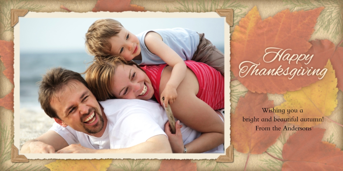 Thanksgiving Photo Cards Flat Glossy Photo Paper Cards with Envelopes, 4x8, Card & Stationery -Autumn Leaves