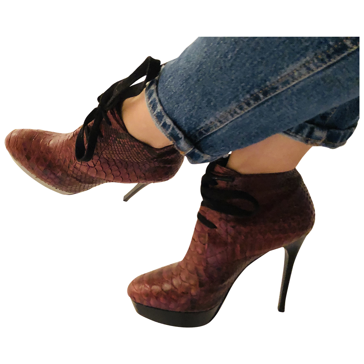 Burberry N Burgundy Python Ankle boots for Women 39 IT