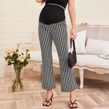 Maternity Hose mit Hahnentritt Muster und ausgestelltem Beinschnitt