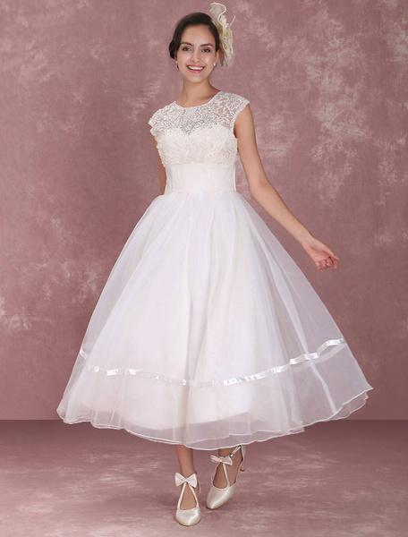 Milanoo Elegant Net Round Neck Mini Wedding Dress