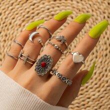 10 Stuecke Ring mit Herzen & Mond Design