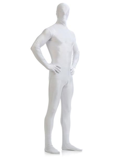 Milanoo Disfraz Halloween Blanco Lycra Spandex Zentai traje para los hombres Halloween