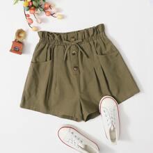 Maedchen Shorts mit Papiertaschen auf Taille und Knopfen Detail