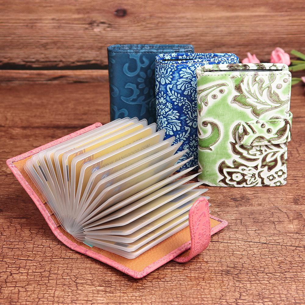 Women 26 Card Slots Genuine Leather Vintage Flower Pattern Card Holder