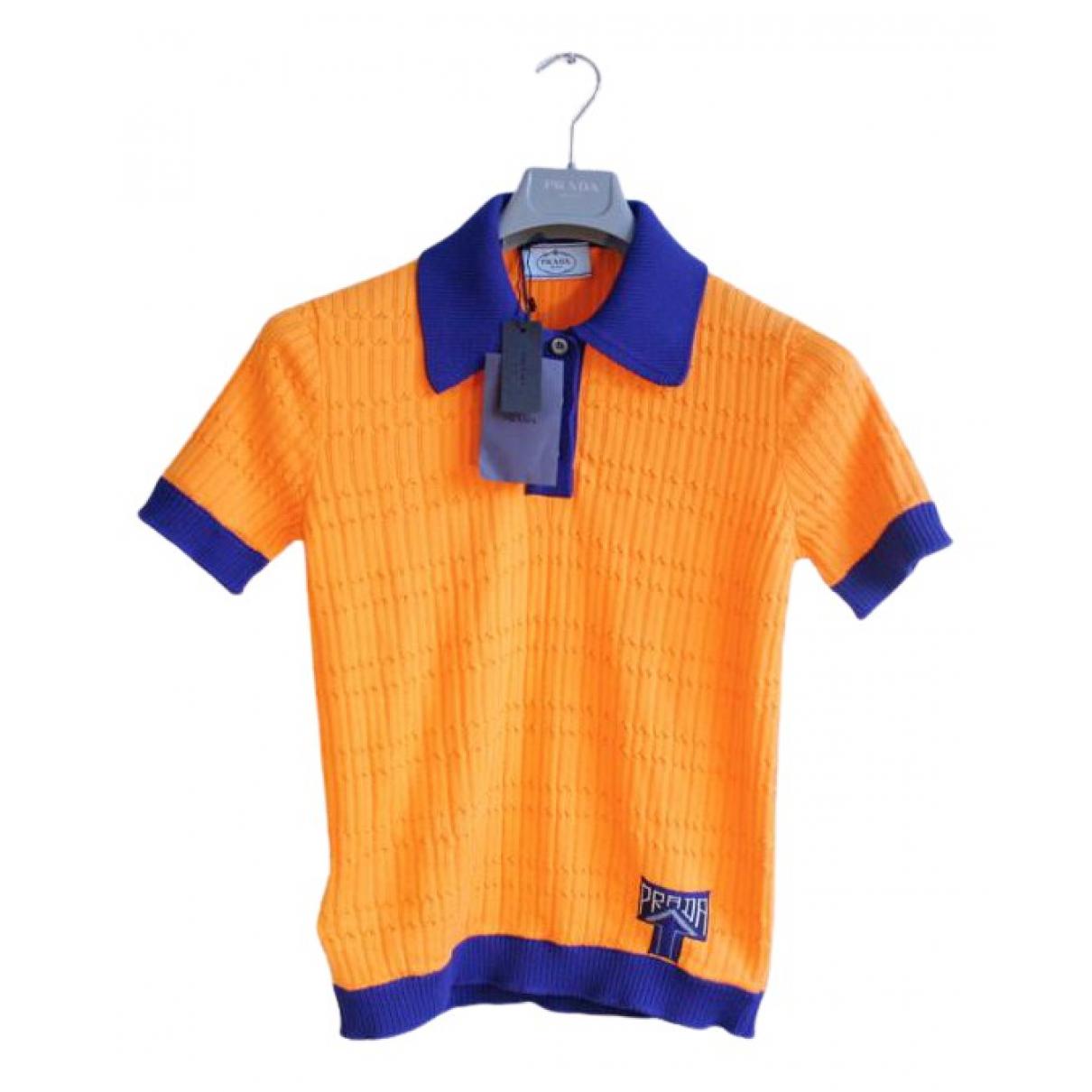 Prada - Pull   pour femme en coton - orange
