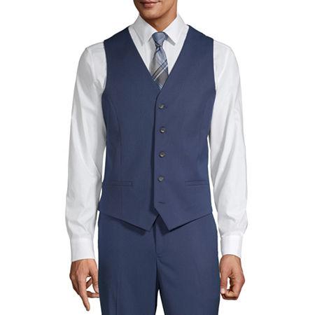 JF J.Ferrar Mens Slim Fit Suit Vest - Slim, Medium , Blue