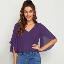 Solid Split Sleeve Top
