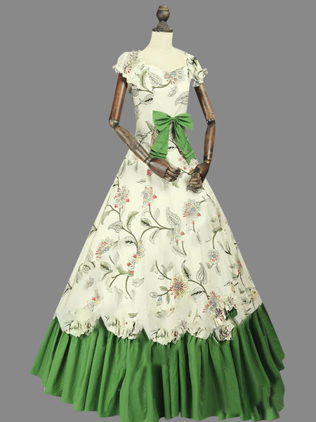 Milanoo Victorian Dress Costume Women's Rococo Sateen Marie Antoinette Costume Floral Print Short Sleeves Ball Gown Victorian era Clothing Vintage Clo