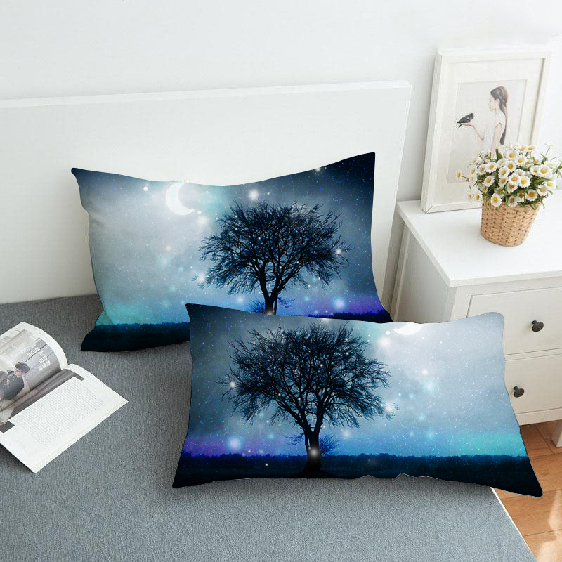 Black Branch and Starry Sky Reactive Printing 2-Piece Polyester Pillowcase