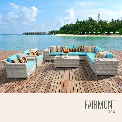 FAIRMONT-11d-ARUBA Fairmont 11 Piece Outdoor Wicker Patio Furniture Set 11d with 2 Covers: Beige and