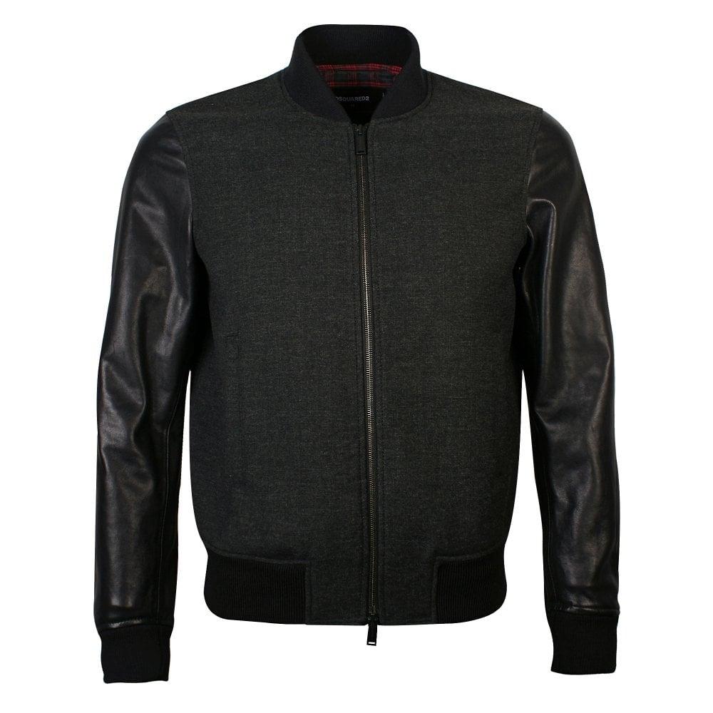 DSquared2 Charcoal Leather Sleeved Bomber Jacket Colour: BLACK, Size: EXTRA EXTRA LARGE