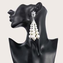 1 Paar Ohrringe mit Edelstein und Kunstperlen Dekor