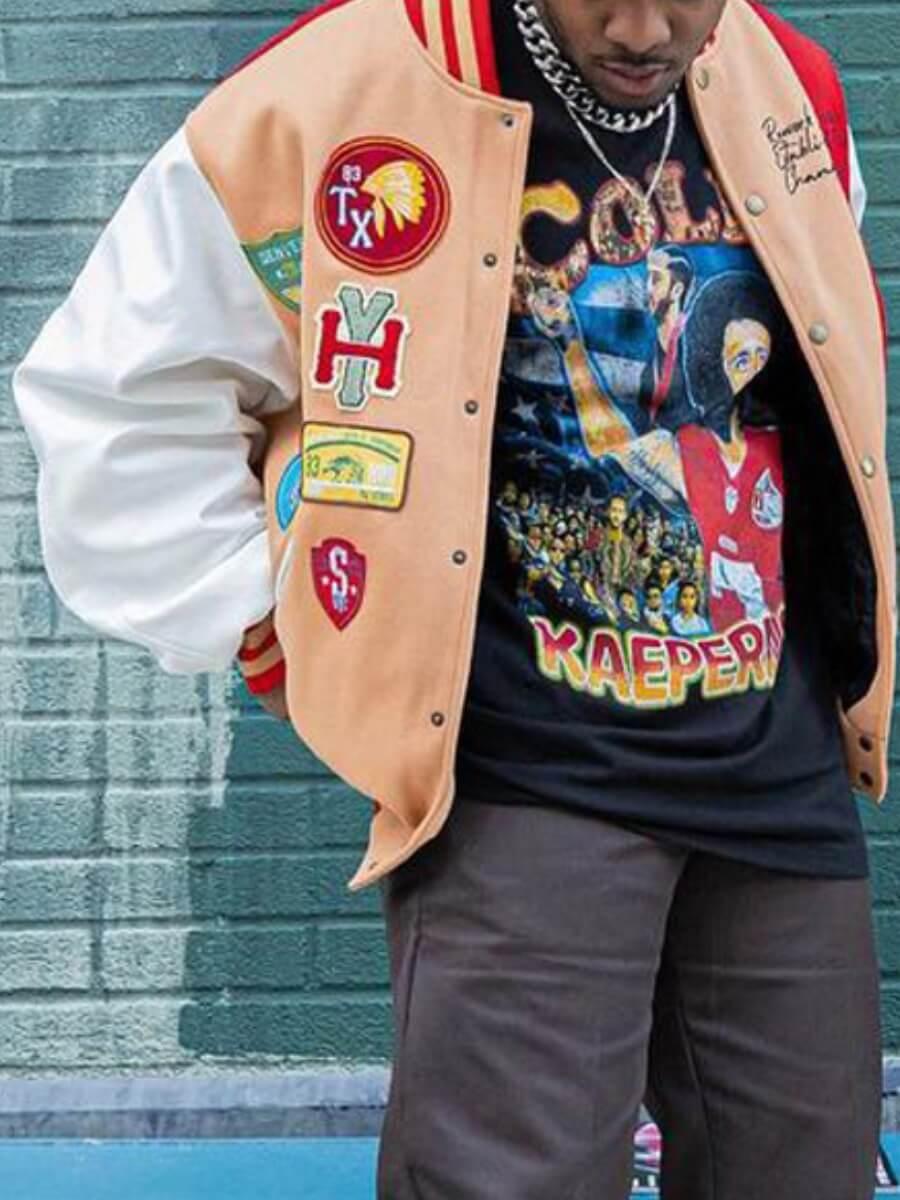 LW Lovely Street Print Patchwork Yellow Men Jacket