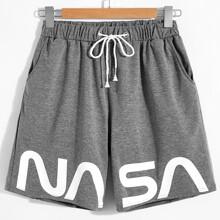 Men Letter Graphic Drawstring Shorts