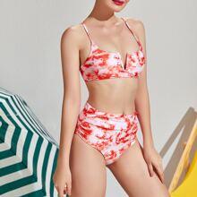 Bikini Badeanzug mit Batik, V Ausschnitt, Ruesche und hoher Taille