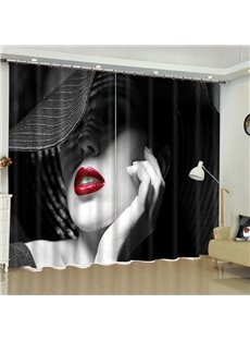 Vivid Masked Girl with Red Lips Printed 2 Panels Custom Curtain for Living Room