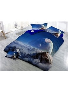 Scenery Above The Clouds Wear-resistant Breathable High Quality 60s Cotton 4-Piece 3D Bedding Sets