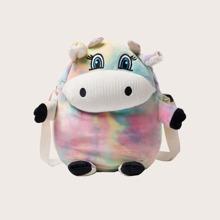 Cartoon Cow Tie Dye Crossbody Bag