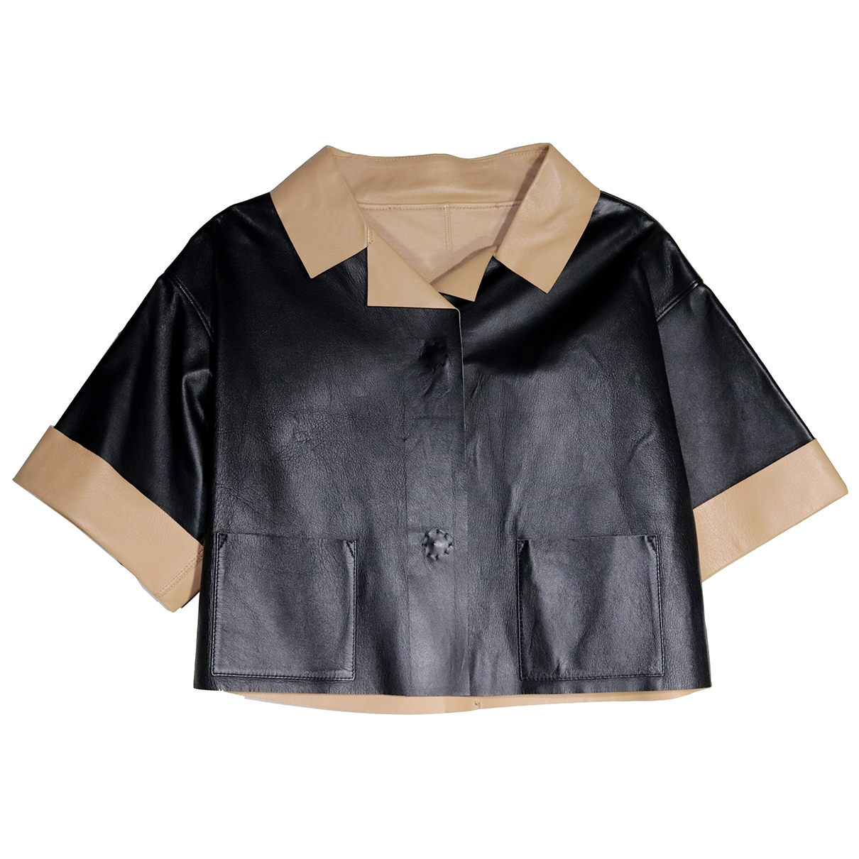Non Signé / Unsigned Oversize Black Leather Leather jacket for Women 40 IT