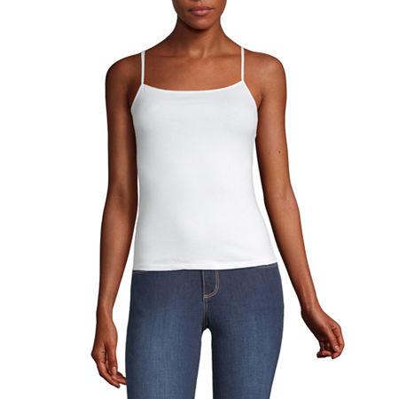 Arizona Womens Square Neck Semi-Cropped Camisole - Juniors, X-large , White