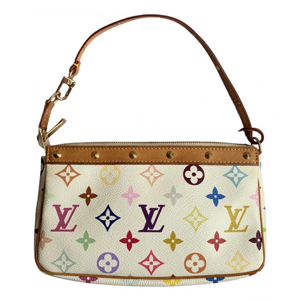 Louis Vuitton Pochette Accessoire Clutch in  Weiss Leinen